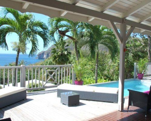 villa guadeloupe deshaies terrasse piscine vue mer